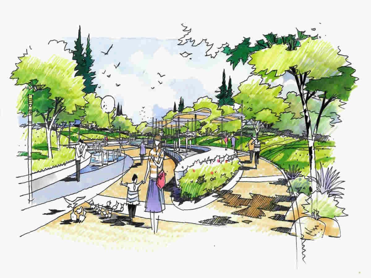 景观广场手绘效果图-广场设计效果图手绘,景观手绘立面图标注,景观