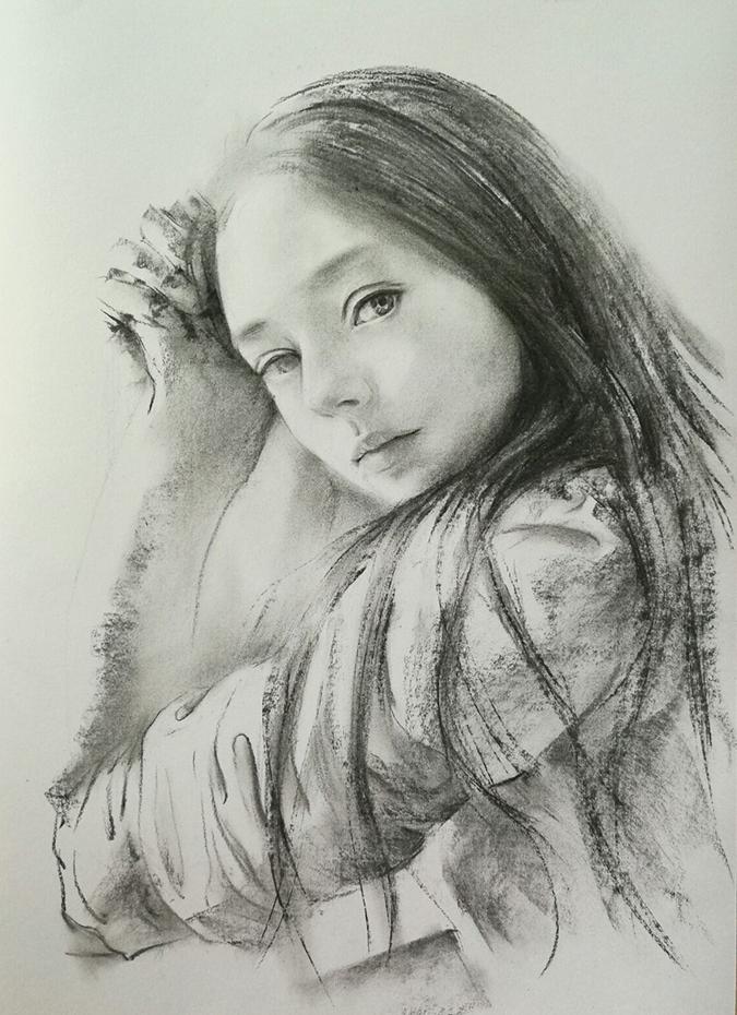 人物素描——《少女》-美术基础教程-广州玛雅美术||.