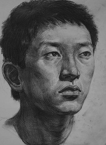 广州美术培训:素描男青年头像